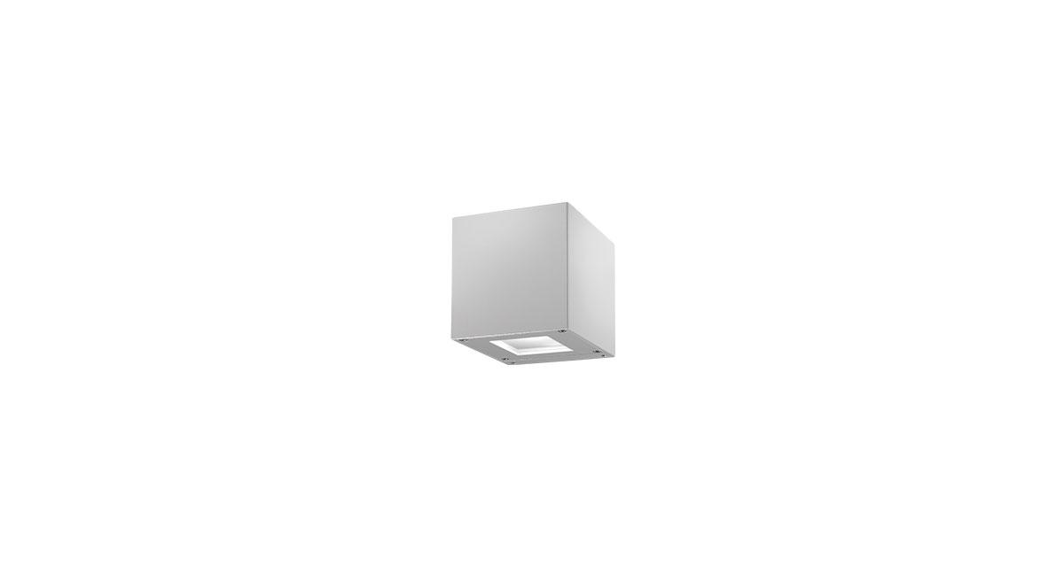 DB9 | 100 mm outdoor luminaire installable on walls, with mono or bio-emission, satin-glass diffuser and white or silvery finishings