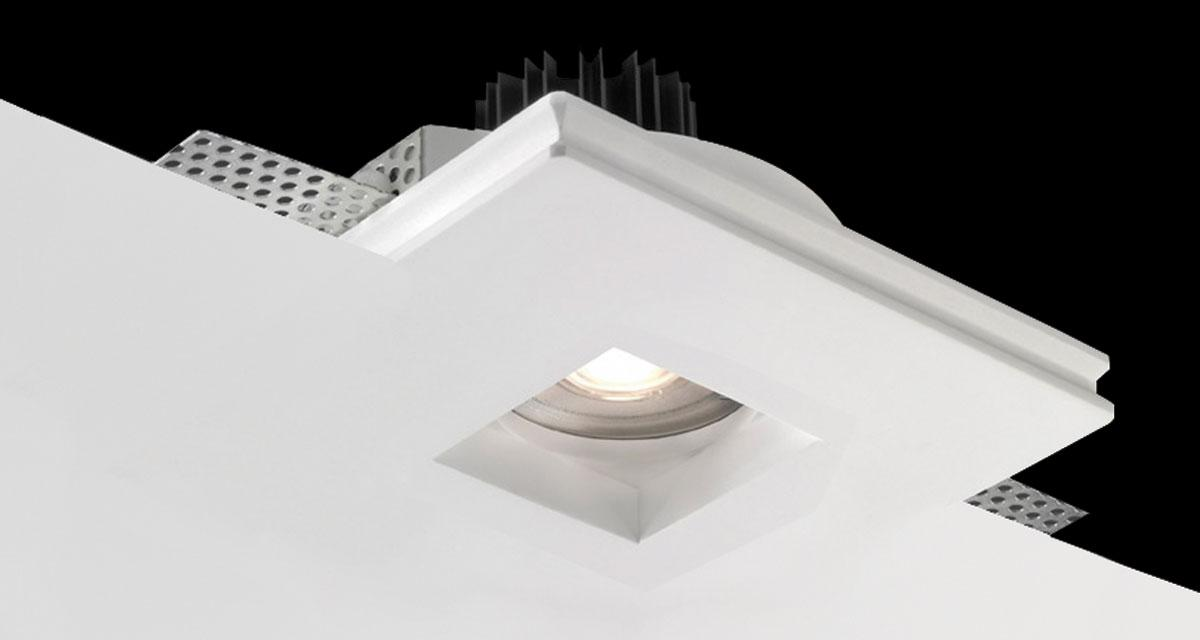 BASIC SQUARE | 140 mm squared recessed lighting with recessed light source and squared light emission hole