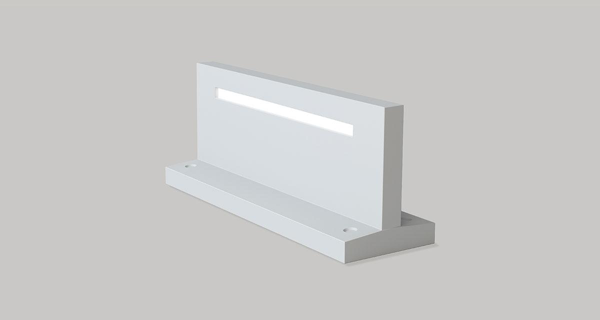 "UNDERSCORE | 500 x 150 mm (19.68"" x 19.68"") inground luminaire with variable height depending on the type of installation (h max 7.87"" - h min 3.15"")"