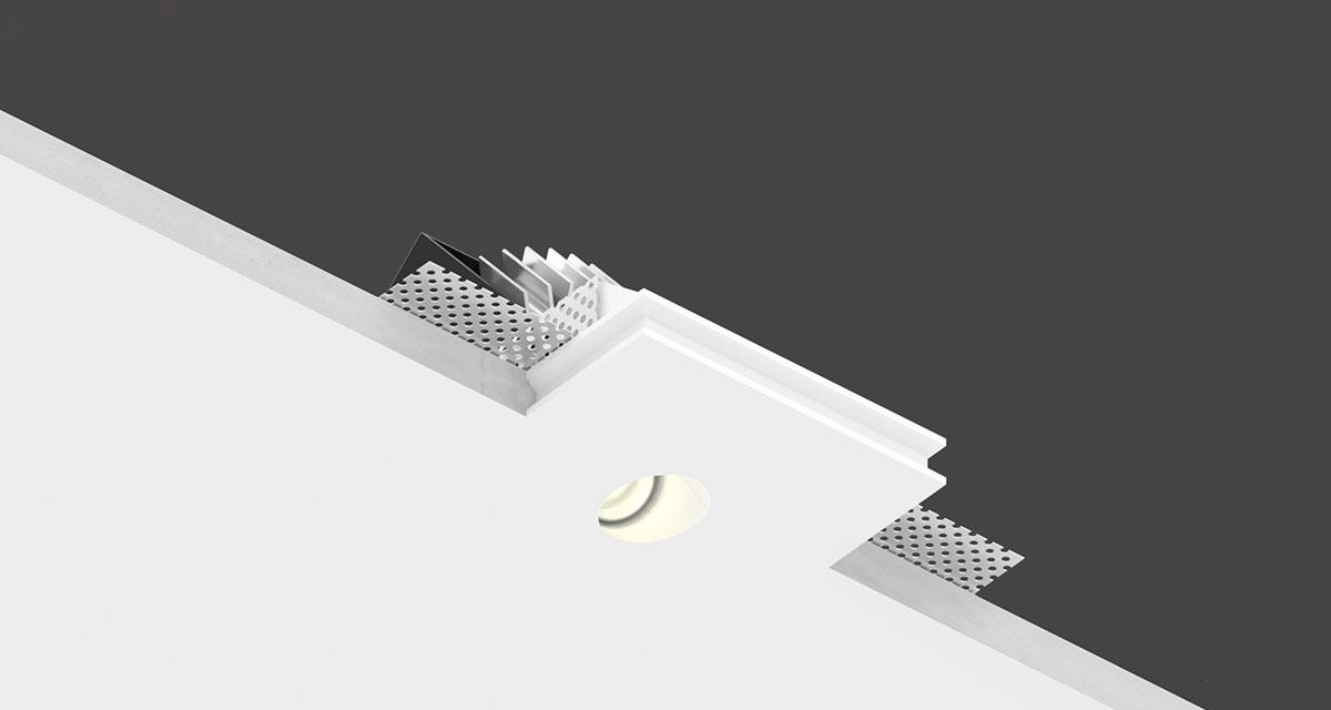 "GENIUS BASIC SLOPE | 100 x 90 mm (3.93"" x 3.54"") square recessed lighting with asymmetrical light emission hole with a 40° angled axis"