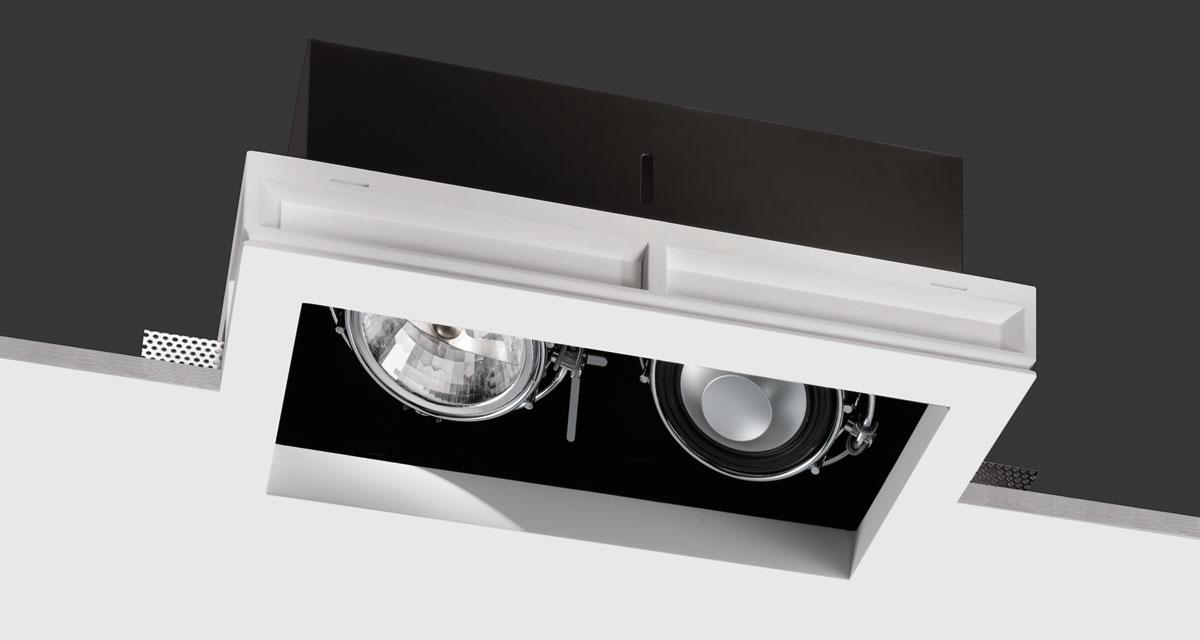 HI-AUDIO BOX | 225 mm-wide recessed lighting with light / sound sources adjustable on both axes, with black rearward source base