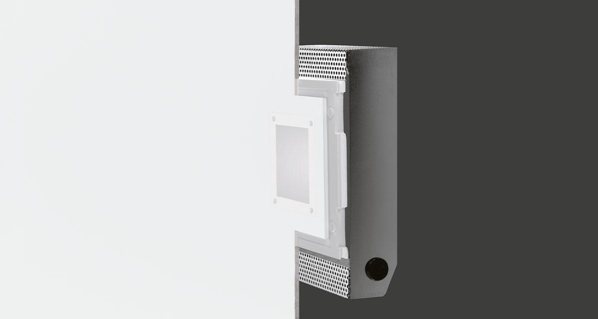 ALADIN IP65 | 190 x 245 mm rectangular recessed lighting with 100 mm squared light emission hole and flush frosted glass