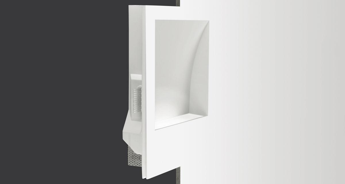 SPIRIT | 300 x 370 mm rectangular recessed lighting with 240 mm squared light emission hole and wall washer parabola
