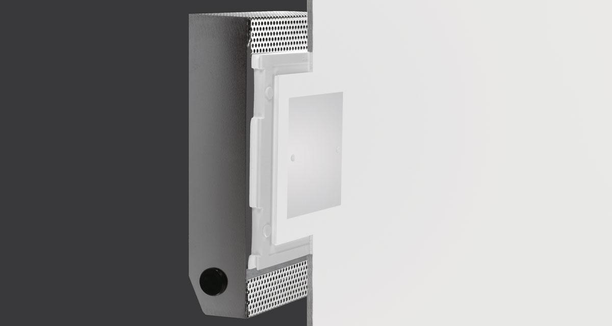 INVISIBILE | Rectangular recessed lighting with 100 mm squared light emission hole and flush frosted glass fixed with screws