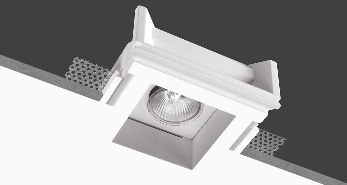 LIGHT | 135 mm squared or 135 x 215 mm rectangular recessed lighting with single or double rearward light source