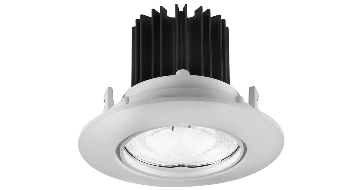 XJR9 | Ø 90 mm round recessed luminare with adjustable backward light source and visible mechanism
