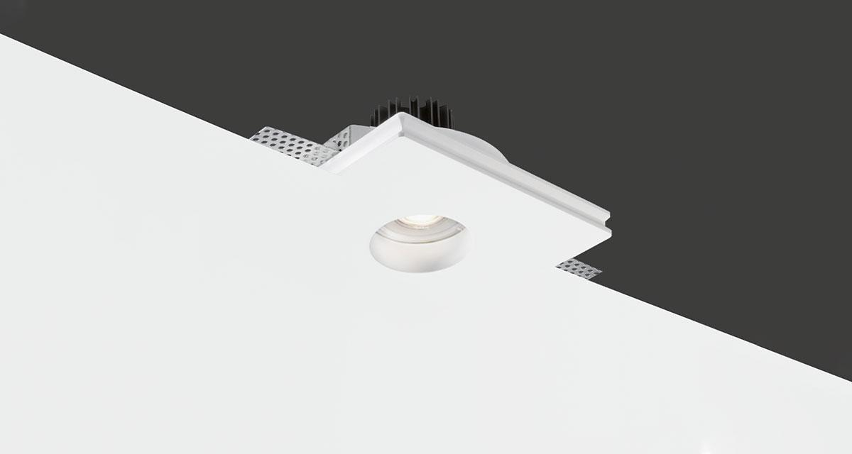 BASIC ROUND   140 mm squared recessed lighting with recessed light source and rounded light emission hole