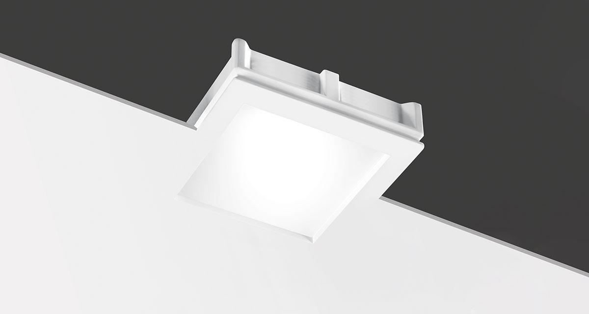 MAXI BILD | 230 mm squared recessed lighting with 10 mm rearward frosted glass