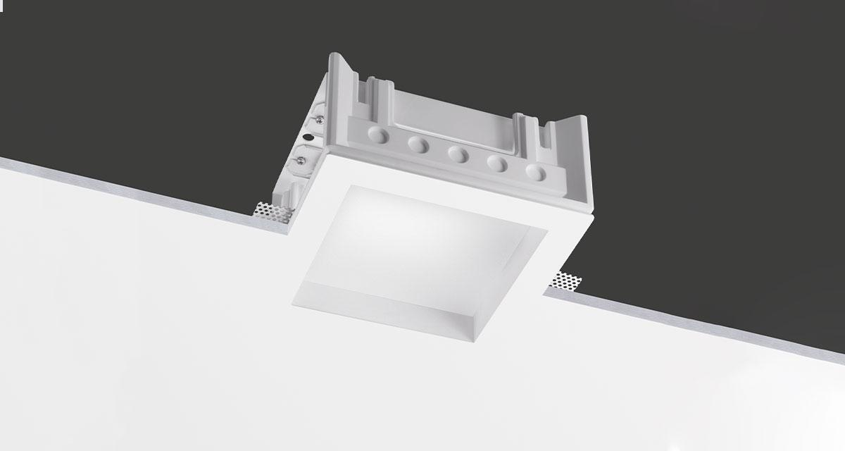 NIMBUS | 235 mm squared recessed lighting withrearward glass and with fixed or adjustable light source