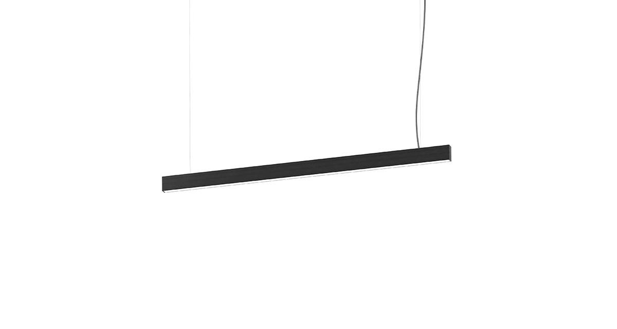THE LINE | Linear pendant light for interiors with black o white finishing