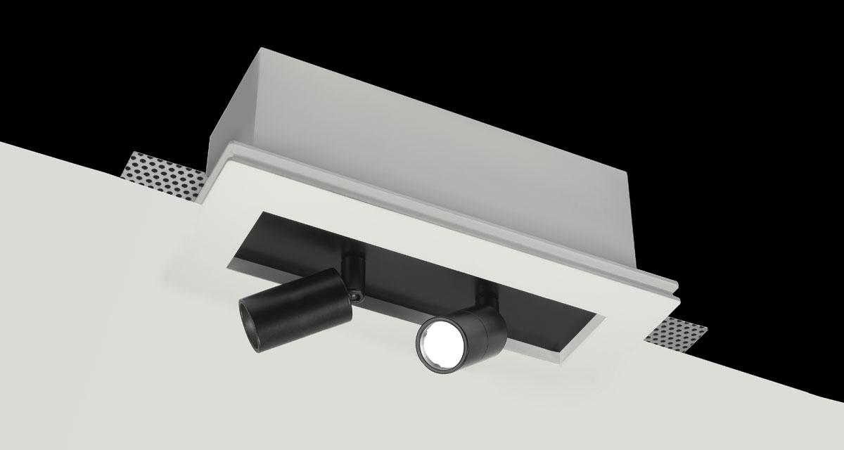 TAURUS | 110 mm-wide recessed lighting with single, double or triple rearward spotlight, extractable and adjustable on both axes