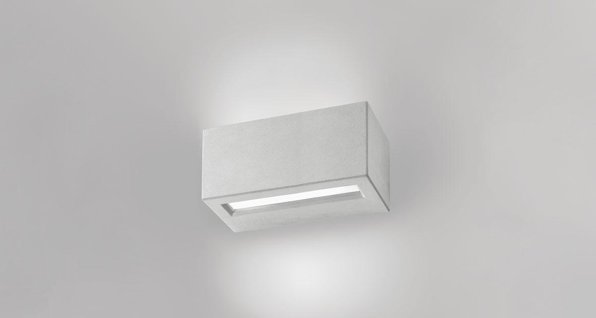 VIRTUS IP65 | 345 mm exterior wall unit, bi-emission and frosted glass diffuser, paintable