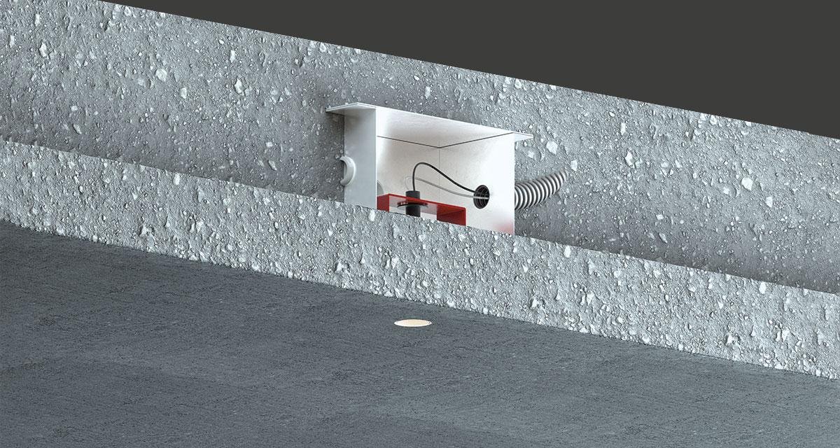 "GENIUS CONCRETE | Totally recessed luminaire with Ø 23 mm (0.90"") light emission hole and installable during the concrete casting phase with a minimum concrete cover of of 12 mm (0.47"")"