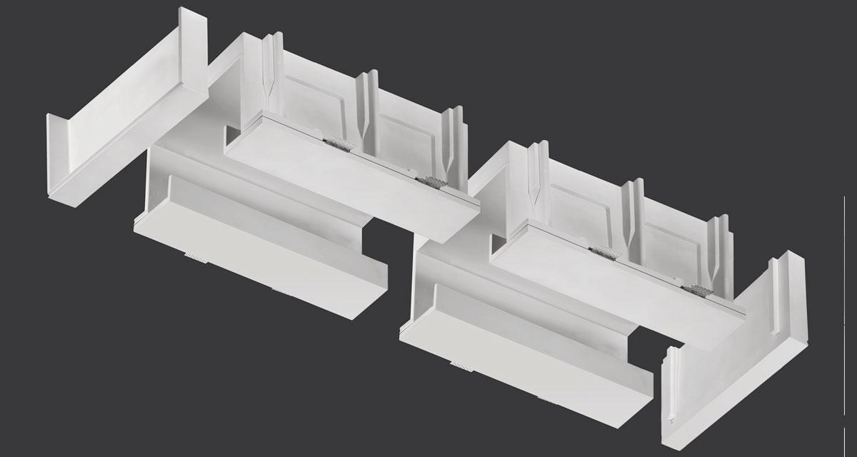 TAGLIO 2.0 | Modular recessed indirect lighting system for 175 mm-wide lines of light
