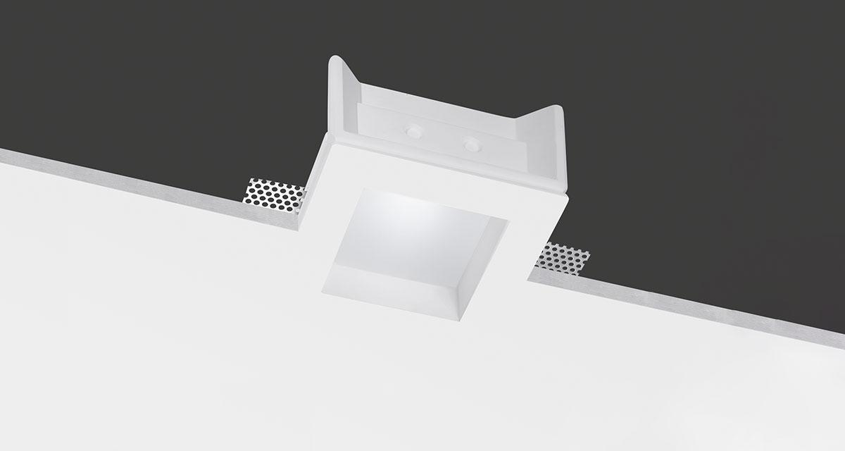 NEFI   145 mm squared recessed lighting with 30 mm rearward frosted glass