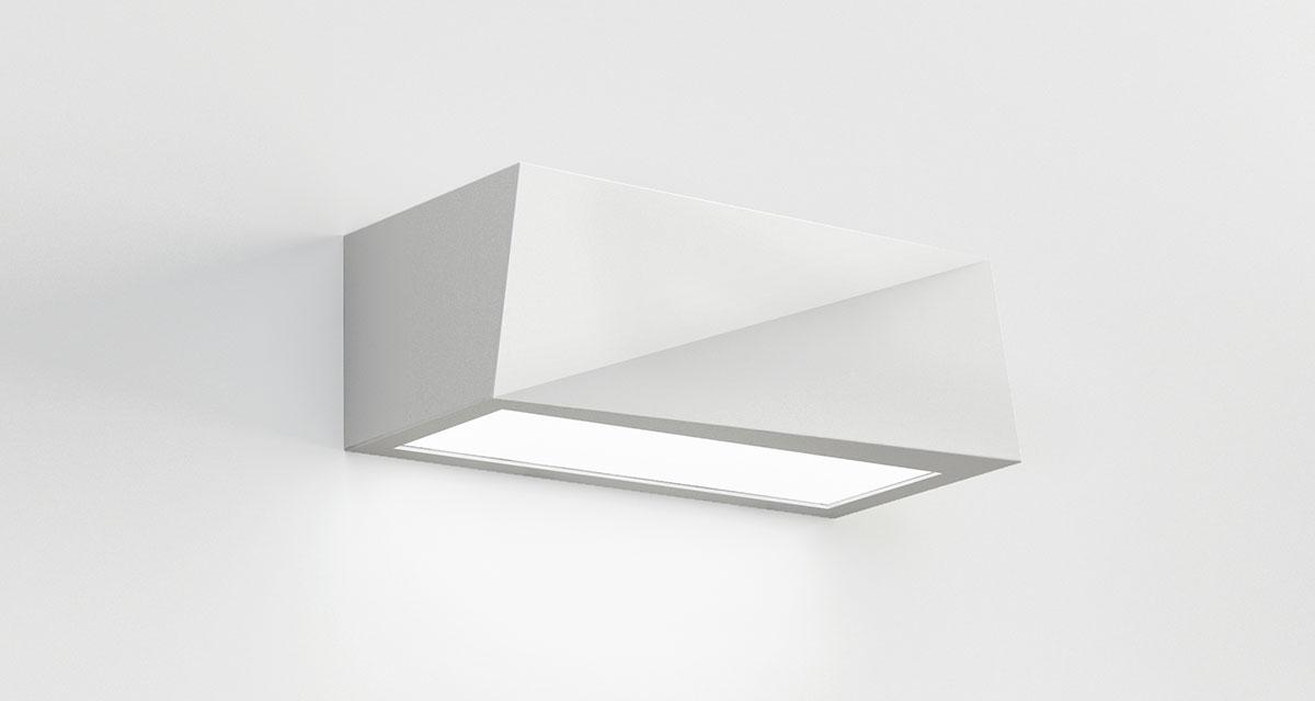 YIN | 250 mm bi-emission luminaire installable on walls with a multifaceted form
