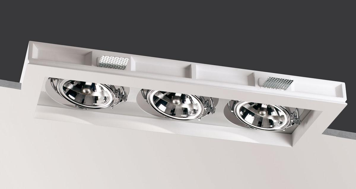 WHITE BOX | 225 mm-wide recessed lighting with single, double or triple spotlight adjustable on both axes, with white rearward source base