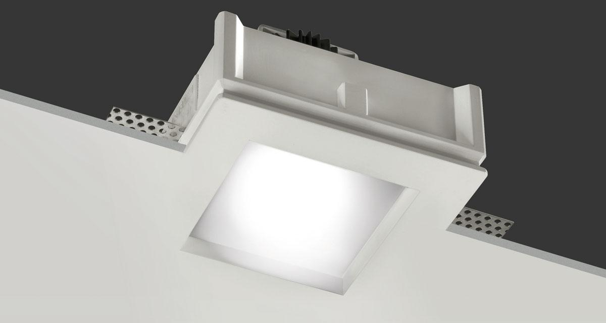 BILD | 125 mm squared recessed lighting with 10 mm recessed frosted glass