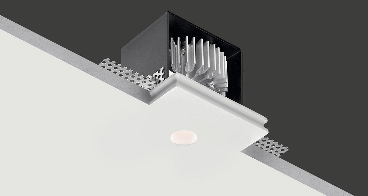 "GENIUS BASIC IP65 | IP65 rating protection 90 mm (3.54"") square recessed lighting installable in a cavity measuring only 80 mm (3.15"")"