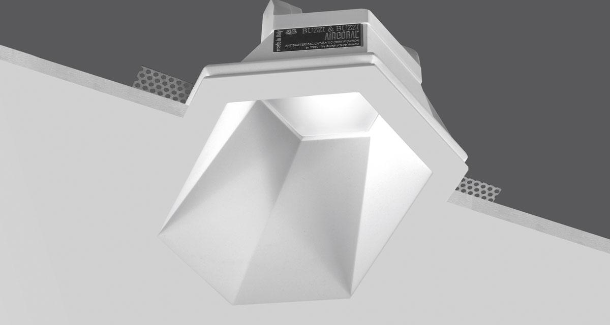 BUZZZ | 180 x 260 mm hexagonal recessed lighting with 50 mm rearward frosted glass and asymmetric light beam