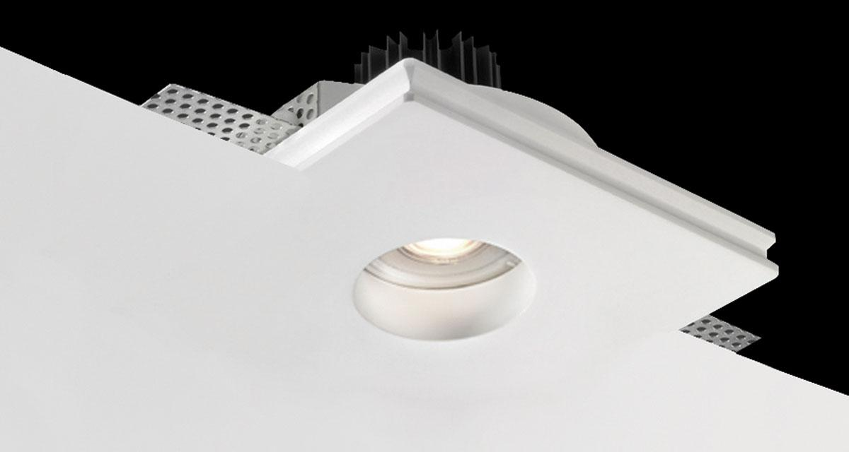 BASIC ROUND | 140 mm squared recessed lighting with recessed light source and rounded light emission hole