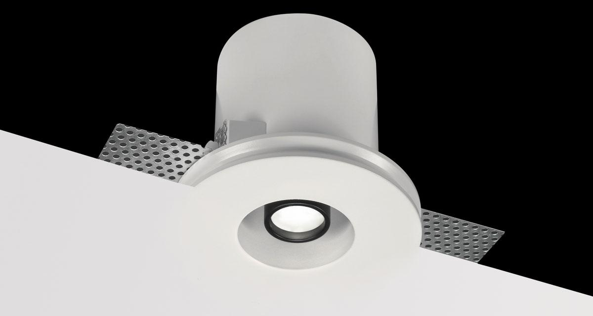 RHINO | Ø 110 mm rounded recessed lighting with extractable rearward spotlight, adjustable on both axes