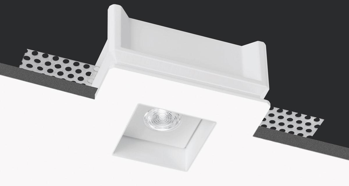 INVISILED | 80 mm squared recessed light with rearward LED source