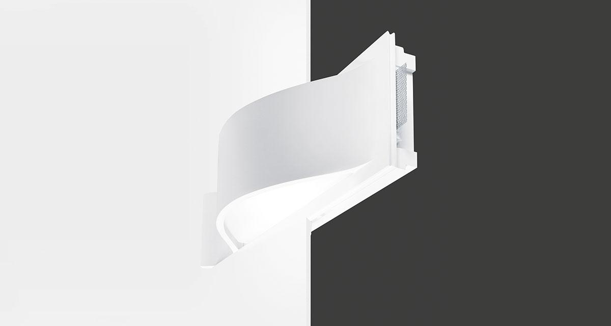 NASTRO | 850 x 260 mm bi-emission semi-recessed lighting with frosted glass fixed with screws