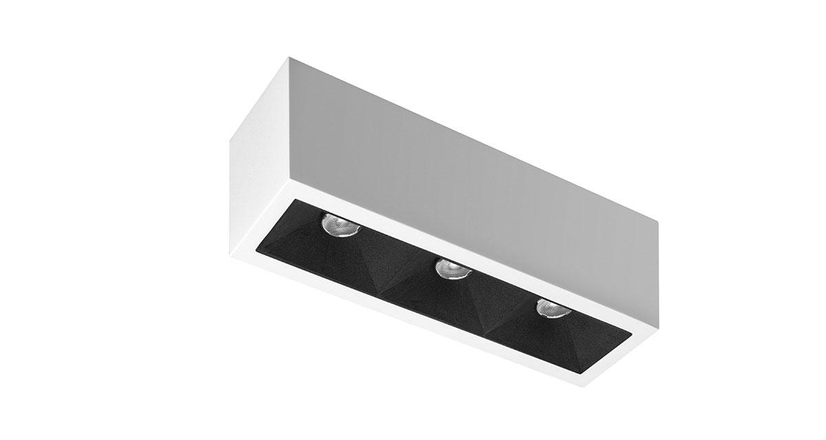 DOT | 72 x 50 mm luminaire installable on ceilings with backward light source and antireflection effect parabola