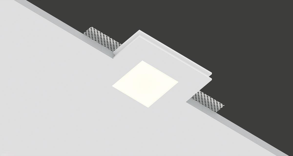 "SLICE | 100 mm (3.9"") squared recessed lighting with 60 x 60 mm (2.36"" x 2.36"") light emission hole and 12.5 mm (0.49"") thick"