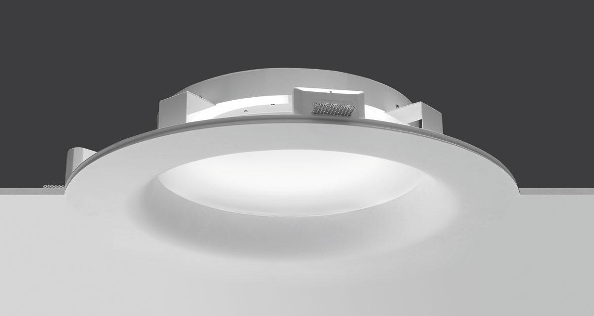 SUPERNOVA | Ø 650 mm rounded recessed lighting with rounded edge and 60 mm rearward polycarbonate diffuser