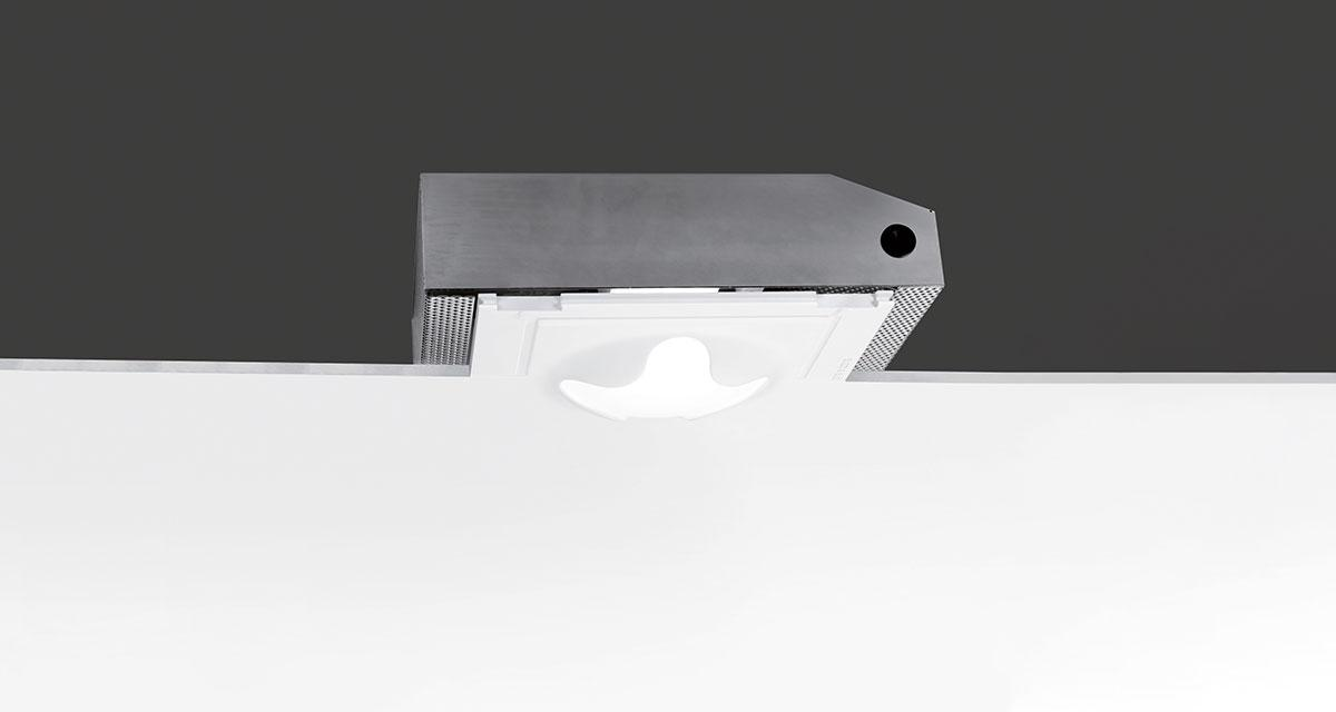 ATOM | 345 mm semi-recessed lighting with frosted glass and quadrilobate light emission hole