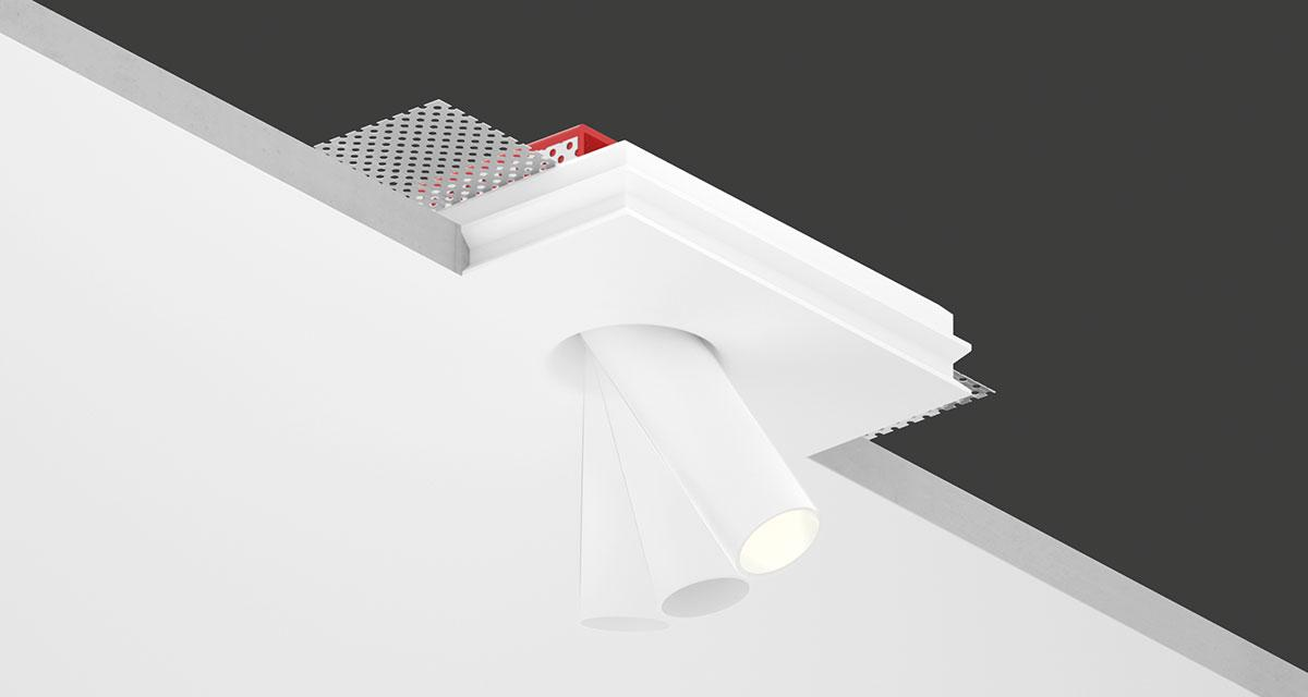 """INZETA   125 x 100 mm (4.92"""" x 3.94"""") rectangular recessed luminaire with Ø 23 mm (0.90"""") aluminium projector and inclinabile by 35° and adjustable on the vertical axis at 360°"""