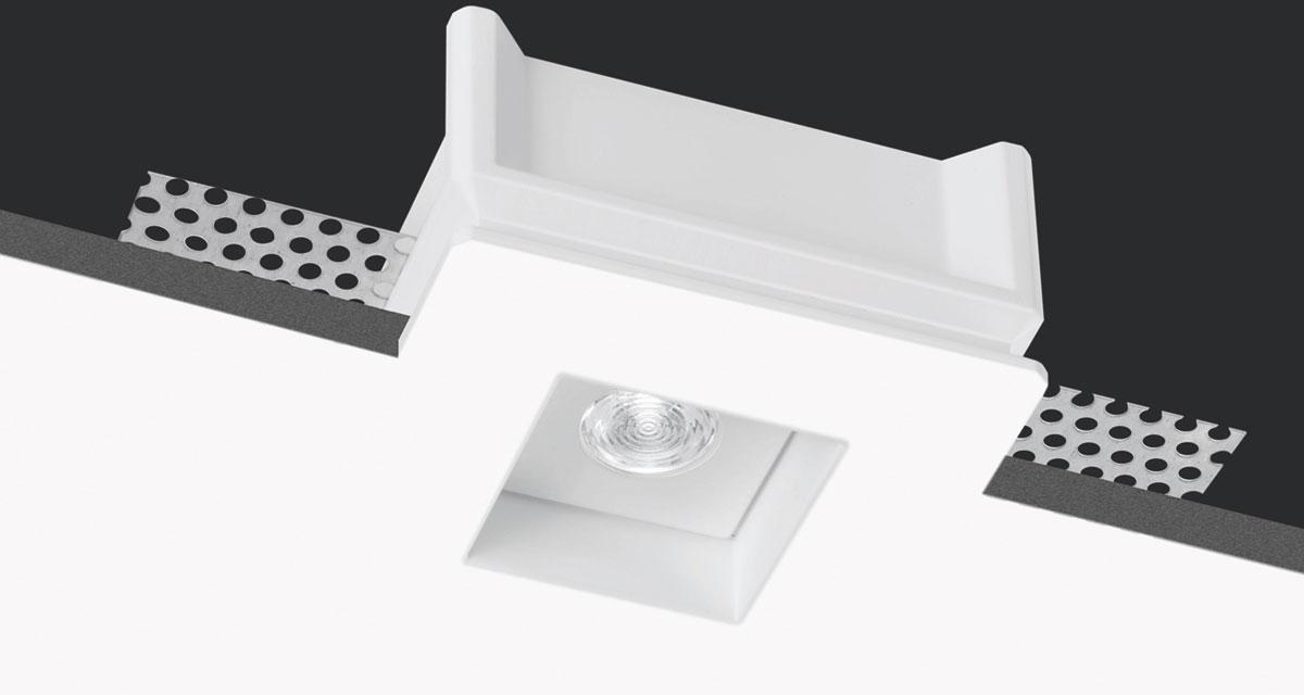 INVISILED IP44/IP65 | 80 mm squared recessed lighting with 10 mm rearward LED source