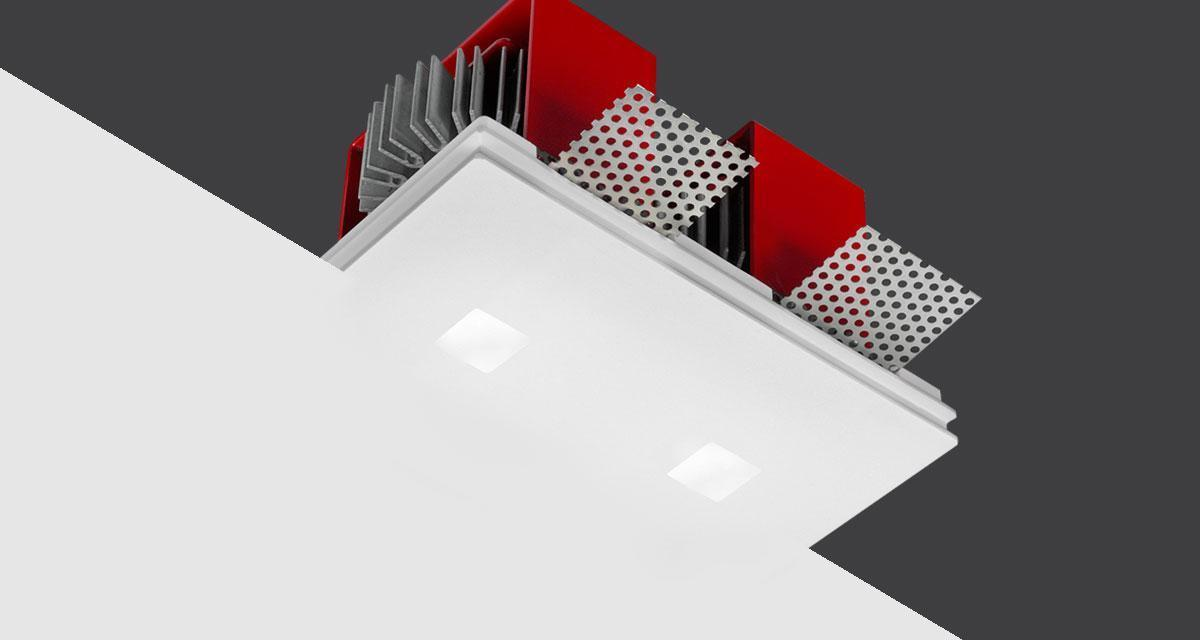 TWIN GENIUSQUARE | 125 x 100 mm rectangular recessed light with 20 x 20 mm double light emission hole