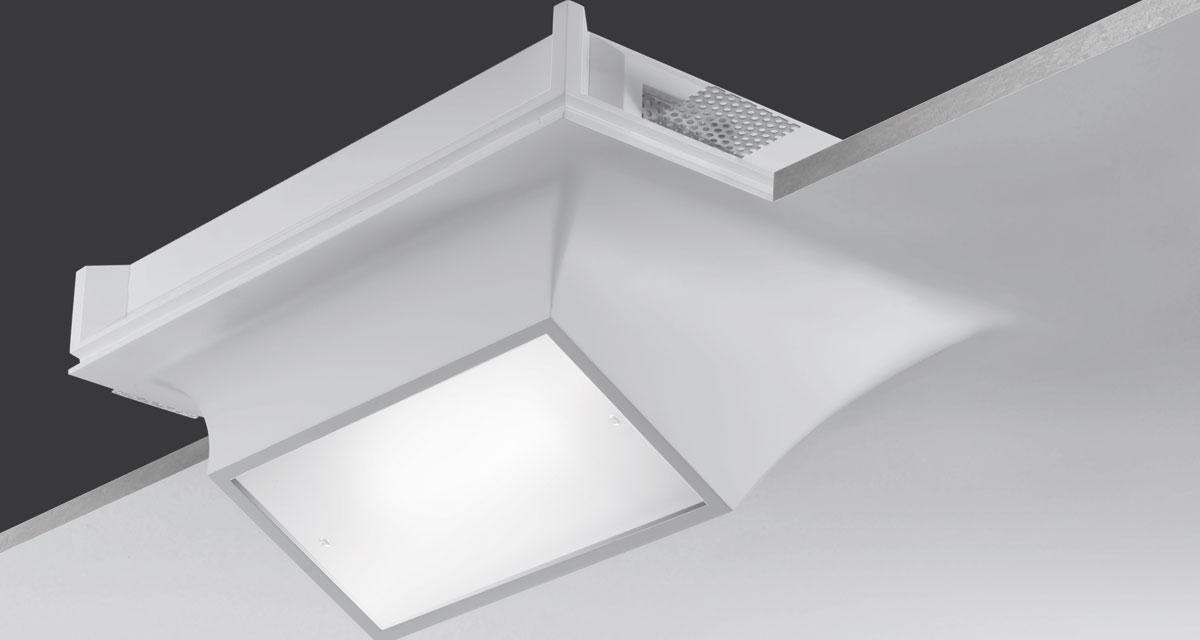 FLEXI | 290 x 360 mm semi-recessed lighting with 5 mm rearward frosted glass fixed with screws and 60° inclined light beam