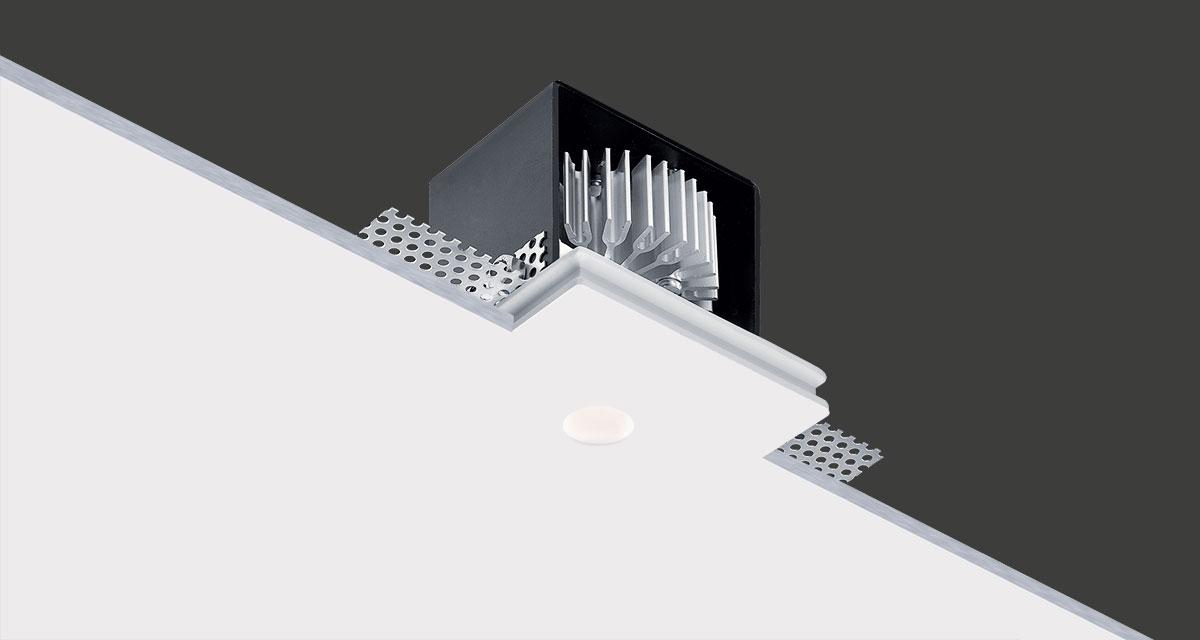 GENIUS BASIC | 90 x 90 mm rectangular recessed lighting with Ø 20 mm light emission hole