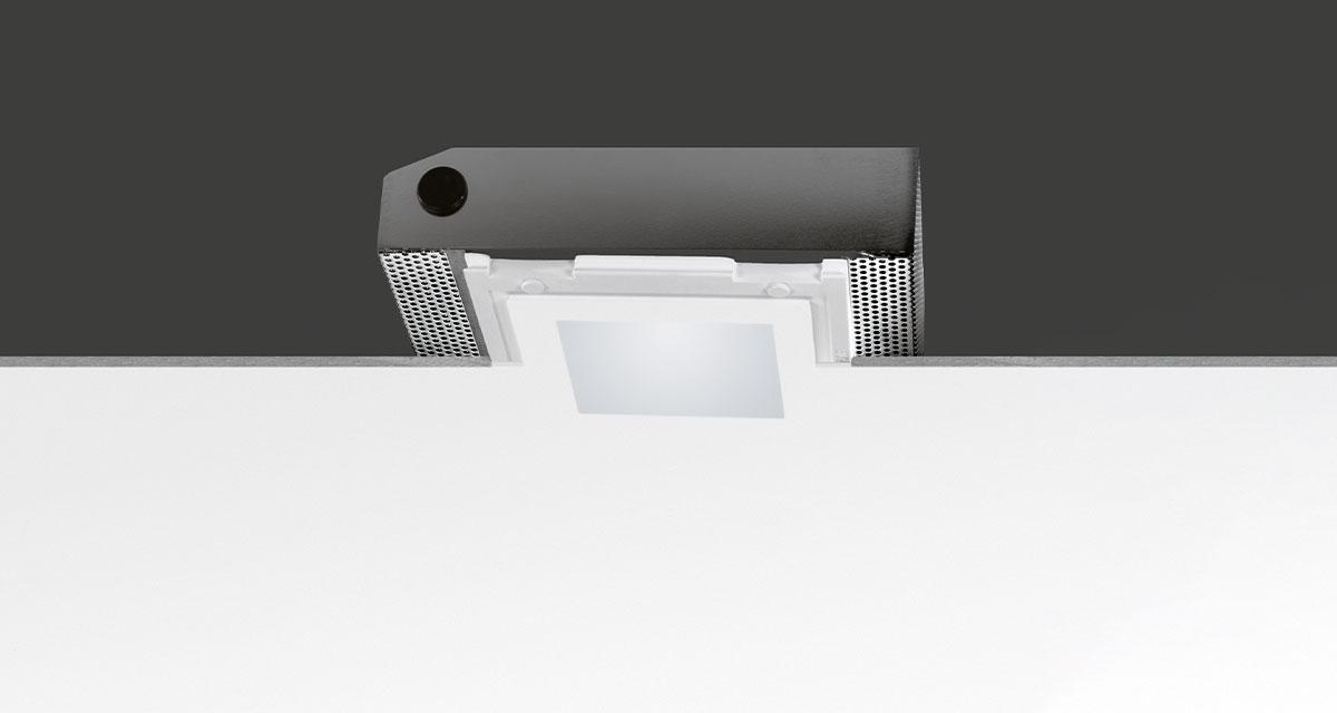 MINI SECRET | Rectangular recessed lighting with 100 mm squared light emission hole and flush frosted glass resting on the edge of ceiling