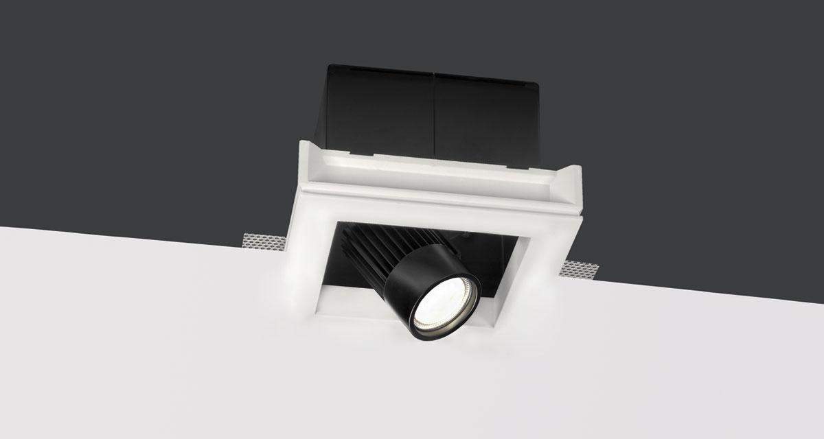 BULL | 225 mm-wide recessed lighting with single, double or triple rearward spotlight, extractable and adjustable on both axes