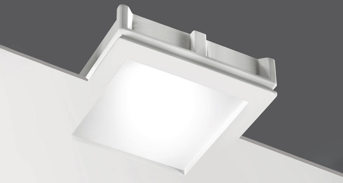 MAXI BILD   230 mm squared recessed lighting with 10 mm rearward frosted glass