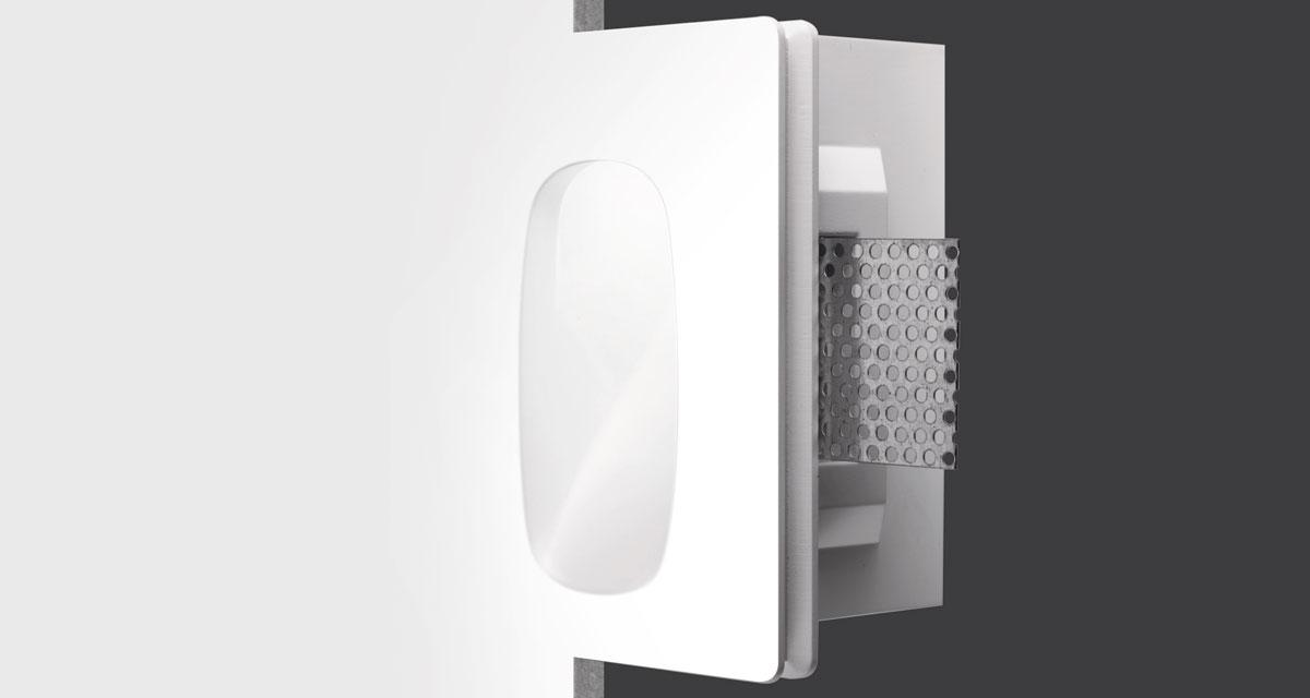 LENTIL | 110 x 145 mm rectangular recessed lighting with convex light emission hole and 45° inclined light beam