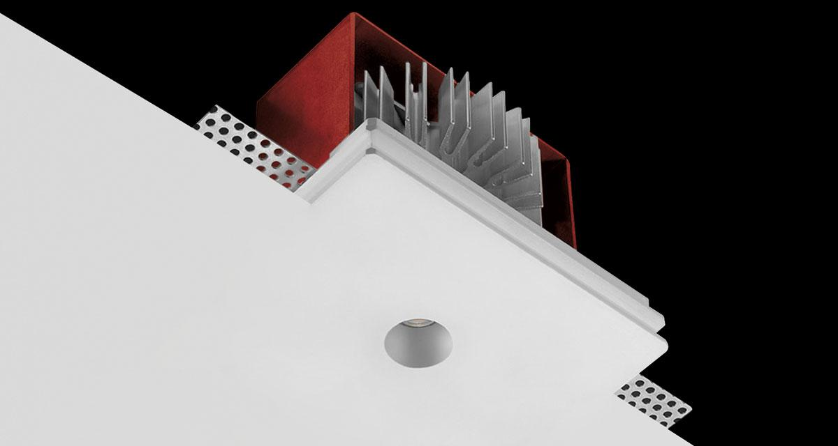 GENIUS | 125 x 100 mm rectangular recessed lighting with Ø 20 mm light emission hole