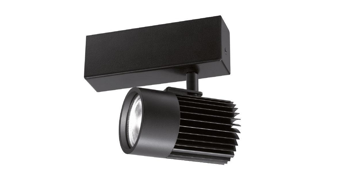 GL | Ø 70 mm adjustable luminaire installable on ceilings/walls with black finishing