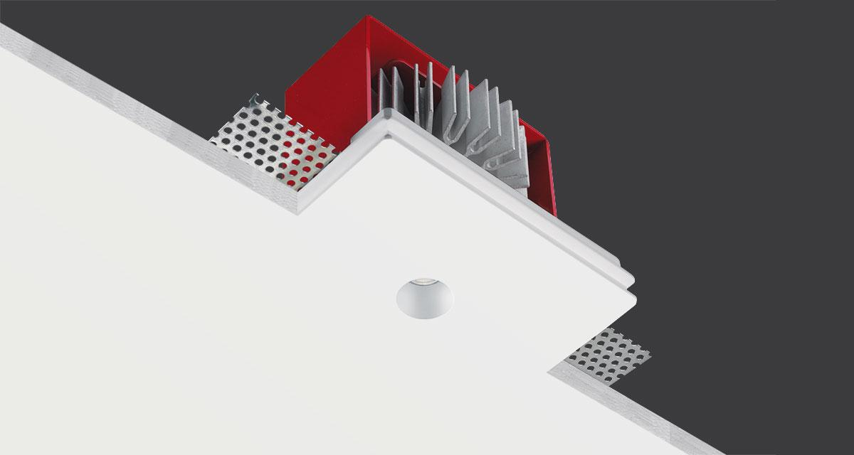 GENIUS IP65 | 125 x 100 mm rectangular recessed luminaire with Ø 20 mm light emission hole