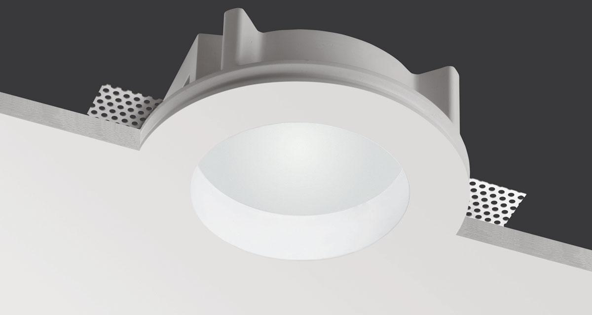 ECLA | Ø 160 rounded recessed lighting with 30 mm rearward frosted glass