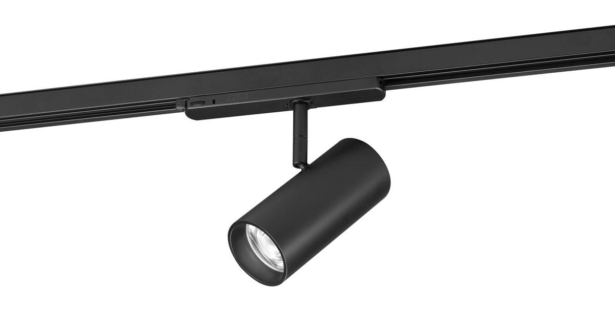 ML | Ø 40 mm adjustable luminaire installable on ceilings, walls or rail with black or white finishings