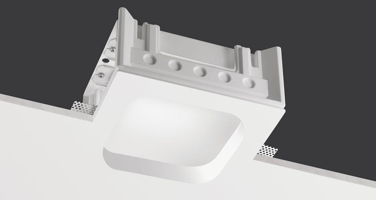 ZOOM | 235 mm squared recessed lighting with rounded light emission hole, 30 mm rearward frosted glass and fixed or adjustable light source