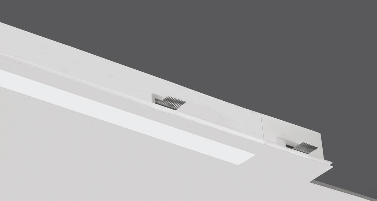NOTHING | Modular recessed lighting for continuous 60 mm-wide lines of light, with 5 mm rearward frosted polycarbonate screen