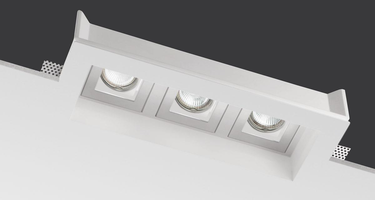 TETRIS | 380 x 150 mm rectangular recessed lighting with triple rearward extractable light source