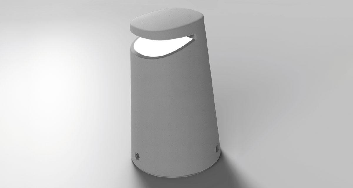 MOND IP65 | 400 mm bollard with frosted glass, impact-resistant, paintable